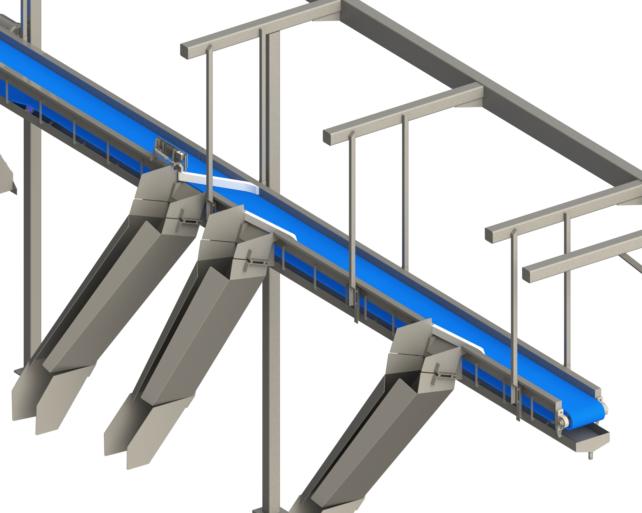 Stone custom overhead diverter conveyor for the food processing industry saves floor space
