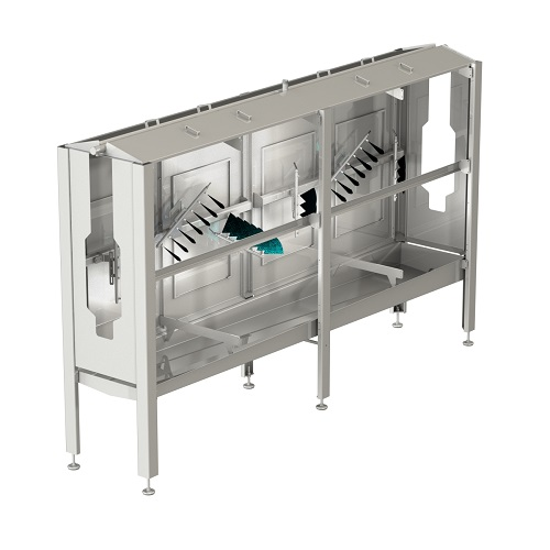 Antibacterial cleaning spray cabinet for the meat processing industry